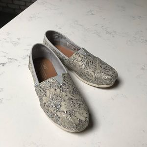 Toms lace silver glitter shoes